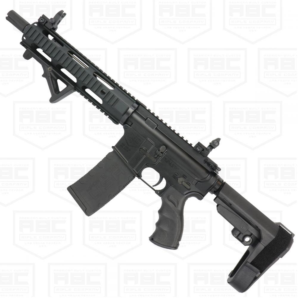 AR 15 Semi Auto 556 NATO Mid Range SBA3 Pistol 10 Nitride Barrel Quad Rail Handguard